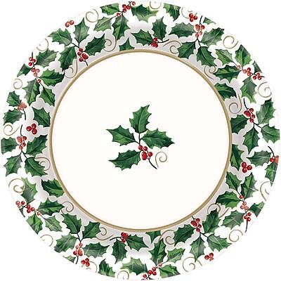 Amscan Seasonal Holly Paper Plate, 6.75