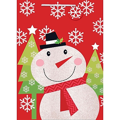 """Amscan Whimsical Snowman Bag with Glitter, 18"""" x 13"""" x 5"""", 10/Pack (170218)"""