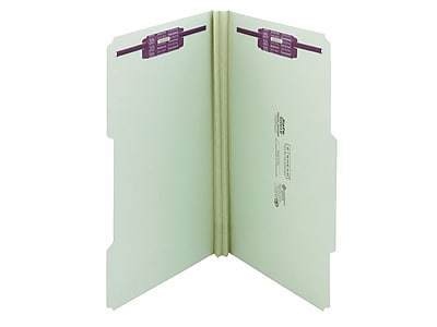Smead Recycled Pressboard Classification Folders with SafeSHIELD Fasteners, 2/5-Cut Tab, Legal Size, Gray/Green, 25/Box (19982)