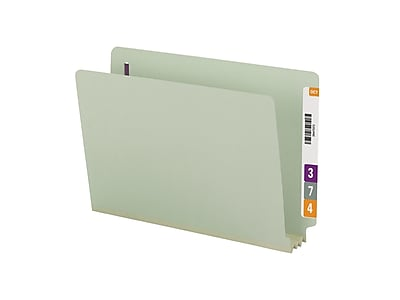 Smead End Tab Classification Folders with SafeSHIELD Fasteners, Legal Size, Gray/Green, 25/Box (37725)