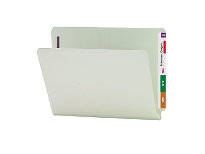 Smead End Tab Classification Folders with SafeSHIELD Fasteners, Letter Size, Gray/Green, 25/Box (34705)