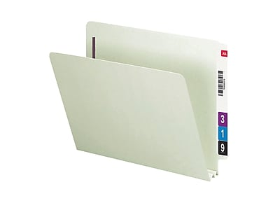 Smead End Tab Classification Folders with SafeSHIELD Fasteners, Letter Size, Gray/Green, 25/Box (34715)