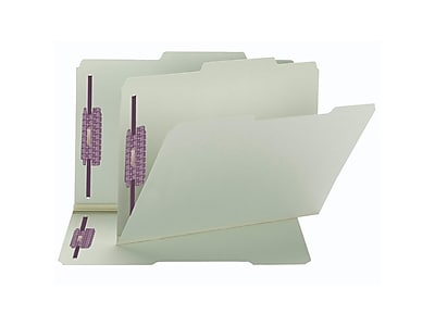 Smead Recycled Pressboard Classification Folders with SafeSHIELD Fasteners, 2/5-Cut Tab, Legal Size, Gray/Green, 25/Box (19980)