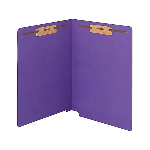 "Smead WaterShed/CutLess End Tab Fastener Folders, Letter, 8.5""x11""Sheet Size, End Tab, 11 pt., Purple, 50/Box"