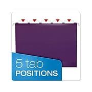 Pendaflex Reinforced Hanging File Folders, 1/5 Tab, Letter Size, Violet, 25/Box (PFX 4152 1/5 VIO)