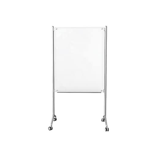 Essentials Enlighten Mobile Glass Dry-Erase Whiteboard, Steel Frame, 4' x 3' (74954)