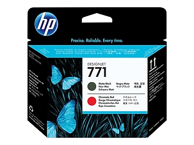 HP 771 DesignJet CE017A Printhead, Black Matte/Chromatic Red
