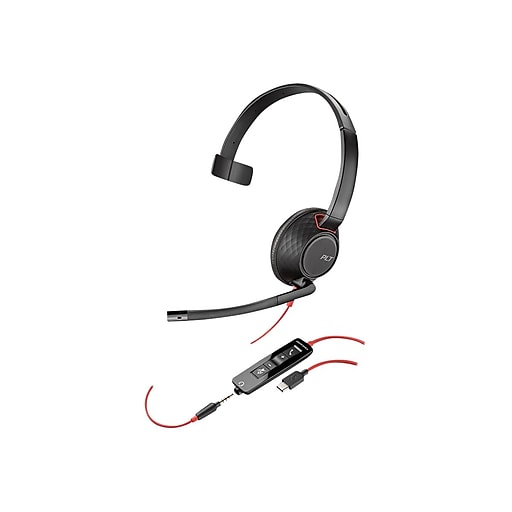 Plantronics Blackwire 5210 USB-C Noise-Canceling Computer Headset,  Over-the-Head, Black (207587-01)