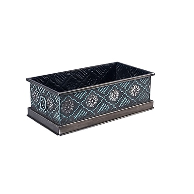 Household Essentials Chelsea Metal Storage Box, Small, Green and Silver (9709-1)