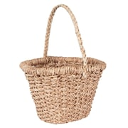 Household Essentials Large Wicker Basket Tote with Long Handle, Natural (ML-6640)