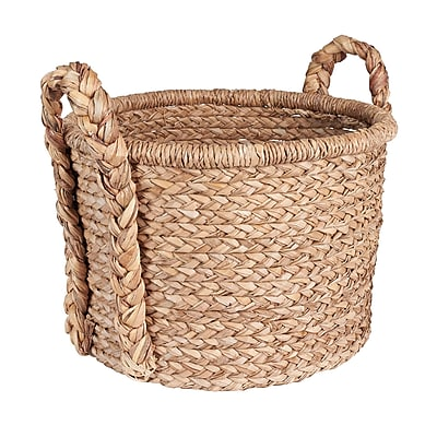 Household Essentials Large Wicker Floor Basket with Braided Handle, Natural (ML-6645)