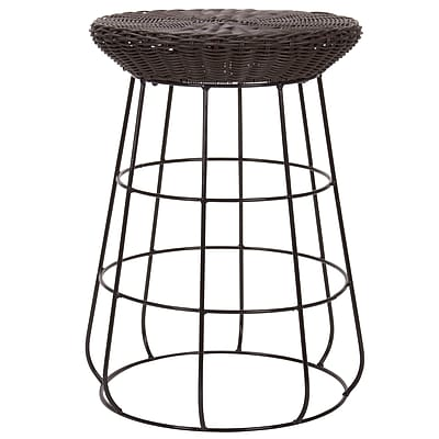 Household Essentials Resin Wicker Low Stool, Brown (ML-5012)