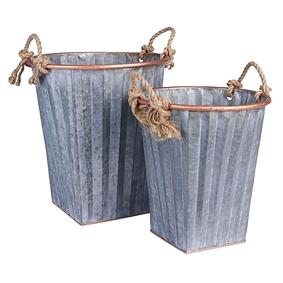 Household Essentials Tall Galvanized Metal Bins, 2 Piece Set, Grey and rose gold (9757-1)