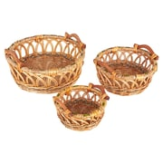 Household Essentials Robin Decorative Wicker Basket, 3 Piece Set, Natural (ML-2230)