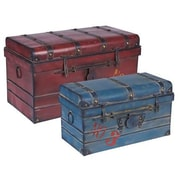 Household Essentials Metal Steamer Trunk, 2 Piece Set, Red and Blue (9515-1)
