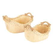 Household Essentials Cobblestone Basket, 2 Piece Set, Natural (ML-3020)