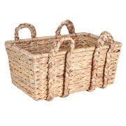 Household Essentials Large Rectangular Floor Basket with Braided Handles, Natural (ML-6647)