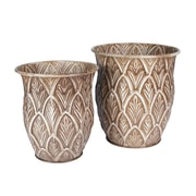 Household Essentials Etched Floor Vases, 2 Piece Set, Taupe (9752-1)
