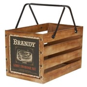 Household Essentials Large Wooden Crate, Brandy (9532-1)