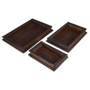 Household Essentials Rustic Wooden Tray, 3 Piece Set, Sandalwood (9720-1)