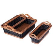 Household Essentials Paper Rope Wicker Basket Tray, 3 Piece Set, Black and Honey (ML-3025)