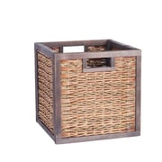 Household Essentials Seagrass Poplar Wicker Storage Box, Brown Stained (2190-1)