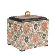 Household Essentials Small Vintage Keepsake Box, Vintage Green and orange on cream (9769-1)