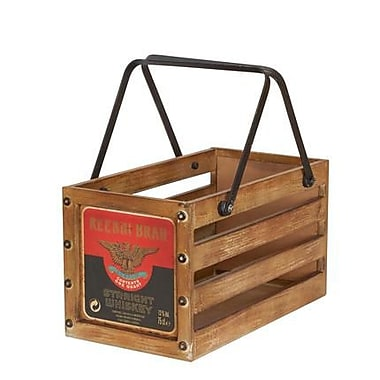 Household Essentials Small Wooden Crate, Whiskey (9534-1)