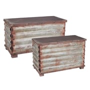 Household Essentials Corrugated Metal Storage Chest, 2 Piece Set, Dark Driftwood and Weathered Silver (9520-1)