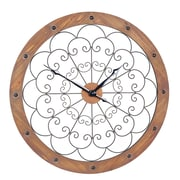 Household Essentials Large Scroll Wood and Black Wall Clock (2364-1)