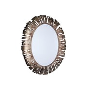 Household Essentials Oval Metal Wall Mirror, Distressed bronze (2372-1)