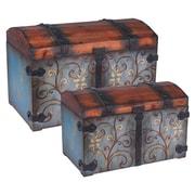 Household Essentials Domed Vintage Storage Chest, 2 Piece Set, Sandalwood and Vintage Blue (9500-1)