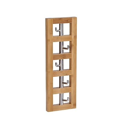Household Essentials Bamboo Vertical 5-Hook Wall Coat Rack (2256-1)