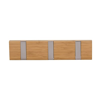 Household Essentials Bamboo Recessed 3-Hook Wall Coat Rack (2253-1)