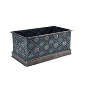 Household Essentials Chelsea Metal Storage Box, Medium, Green and Silver (9707-1)