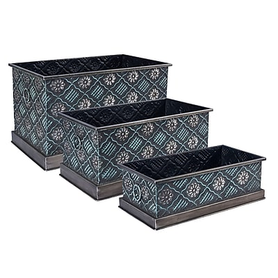 Household Essentials Chelsea Metal Storage Box, 3 Piece Set, Green and Silver (9705-1)