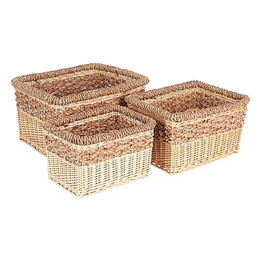 Household Essentials Starling Decorative Wicker Storage Basket, 3 Piece Set, Natural (ML-2205)