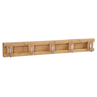 Household Essentials Bamboo Sliding 5-Hook Wall Coat Rack (2252-1)