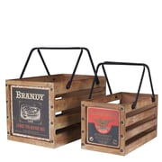 Household Essentials Wooden Crates, 2 Piece Set, with handles, Aged Oak (9530-1)