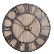 Household Essentials Roman Numerals Vintage Barnwood and Black Wall Clock, (2376-1)