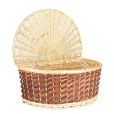 Household Essentials Halfmoon Wicker Basket with Lid, Natural and brown (ML-2235)