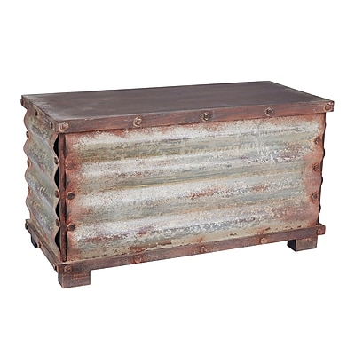 Household Essentials Extra Large Corrugated Metal Storage Chest, Dark Driftwood and Weathered Silver (9522-1)