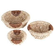 Household Essentials Harvest Round Wicker Bowl, 3 Piece Set, Natural and brown (ML-7040)