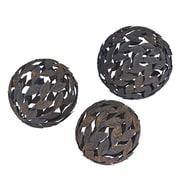 Household Essentials Metal Leaf Decorative Balls, 3 Piece Set, Steel (9763-1)