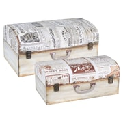 Household Essentials Vintage Newspaper Suitcase Trunk, 2 Piece Set, Light Walnut and Antique White (9525-1)