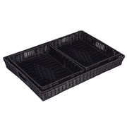 Household Essentials Kingston Resin Wicker Tray, 3 Piece Set, Espresso (ML-5040)