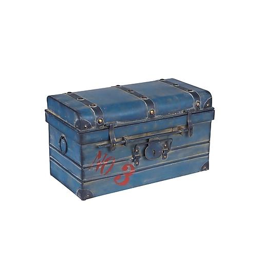 Household Essentials Small Steamer Trunk, Blue (9519-1)