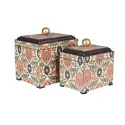 Household Essentials Vintage Keepsake Boxes, 2 Piece Set, Vintage Green and orange on cream (9765-1)