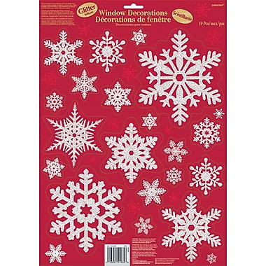 Amscan Traditional Glitter Snowflake Window Decoration, 5/Pack (240569)