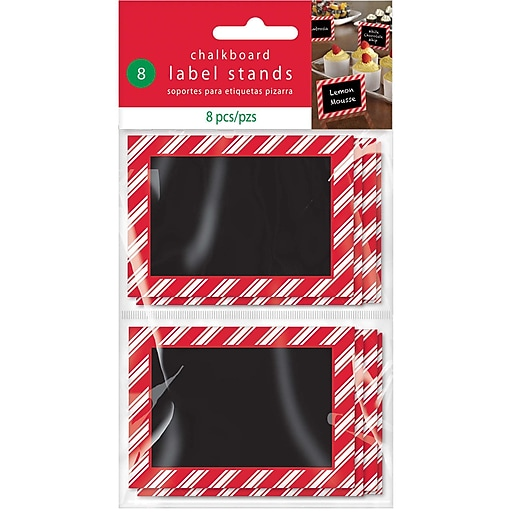 "Amscan Christmas Chalkboard Label Stand, 2.375"" x 3.375"" x .125"", 3/Pack, 8 Per Pack (400125)"